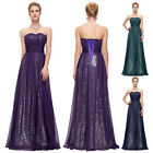 GK Stock Strapless Purple Sequins Chiffon Bridesmaid Gown Evening Prom Dress
