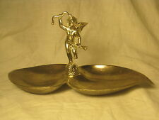 vintage cherub candy nut bowl tray silver-plate ornate Cupid baby 3D art nouveau