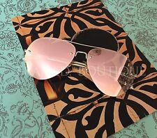LUXE Pink ROSE GOLD MIRRORED Reflective AVIATOR SUNGLASSES DESIGNER Insp.  .2