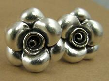 Flower stud earrings. Rose. Solid fine silver & sterling.