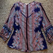NWT! Gibson and Latimer Multicolor Aztec Boho Top Shirt Blouse- M $69 Pretty!