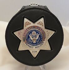 Silver colored seven point star CCW Badge Eagle breast badge and belt clip