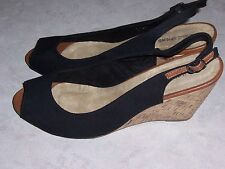 CALL IT SPRING Black Canvas Open Toe Slingback Wedge Heel Womens Shoes Sz 9M