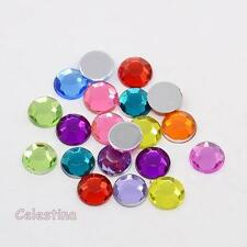 100 Acrylic Rhinestone Cabochons Flat Back Faceted 8mm Mixed Colour Gems Bright