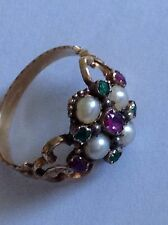 Beautiful Fine Victorian 15ct Gold Natural Ruby, Emerald & Seed Pearl Set Ring