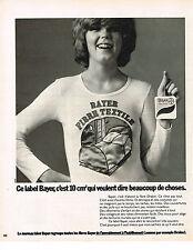 PUBLICITE ADVERTISING   1973   BAYER   textiles fibres DRALON