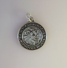 .925 Sterling Silver Round ST CHRISTOPHER Protect Us CHARM NEW Pendant 925 FA16