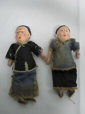 2 ANTIQUE CHINESE BISQUE & COMPOSITION MAN & WOMAN DOLLS 9""