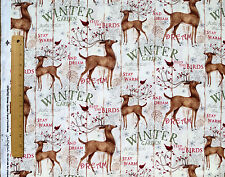 10 YARDS WINTER GARDEN WHITE TAIL DEER CHRISTMAS COTTON FABRIC SPRINGS CREATIVE