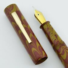 Ranga 3 Flat Top Ebonite Fountain Pen - Red Yellow Ripple, JoWo Nib w Converter