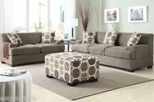 Slate Blended Linen Sofa Couch Loveseat w Ottoman Modern 3pc Sectional Living
