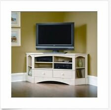 Home Entertainment Corner TV Stand Cabinet Wood Console Media White Rustic NEW