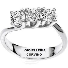 Anello trilogy oro bianco e diamante naturali donna AFFARE offerta fidanzamento