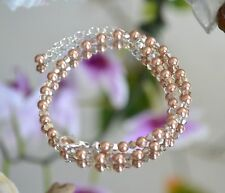 "Rose Gold Crystal Bead & Swarovski Crystal .925 Sterling Anklet 10.5"" to 12.5"""