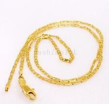 "Unisex 45cm 17.5"" Small Chain Necklace 24K Yellow Gold Plated Lobster Clasp"