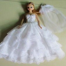 Handmade Wedding Party Princess Dress Doll Clothes For Barbie Doll Xmas White