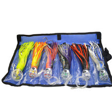 "Game Fishing Trolling Lures Rigged Kit 6"" Skirted Marlin Tuna Kingfish Wahoo Rig"