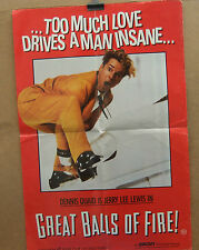 Dennis Quaid as Jerry Lee Lewis GREAT BALLS OF FIRE(1989) Promotional poster
