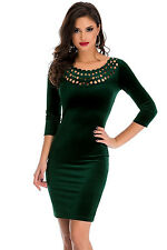 New Ladies Dark Green Hollow Out Round Neck Sleeved Velvet Dress Size UK 8-10