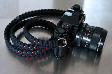 NEW BLACK ORANGE PARACORD CAMERA NECK STRAP DSLR MIRRORLESS CANON NIKON SONY 47""
