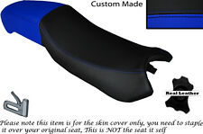 Negro Y Azul Real Custom encaja Derbi Mulhacén 125 doble de piel cubierta de asiento solamente