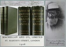 NOTES OF A BOTANIST:AMAZON/ANDES*1st EDITION*SPRUCE*ALFRED RUSSEL WALLACE*7 MAPS