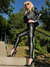 Leder Hose Lederhose Schwarz Hauteng Leggings Zierzipper US 8 S 38