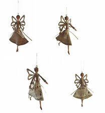 PAIR Angel / Fairy with Music Design and Love / Peace Christmas Decoration