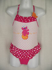 BNWT Girls Sz 0 Elmo Pretty Pink Polka Dot & Ruffle One Piece Swim Suit Bathers
