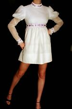 XS Vtg 60s WHITE VICTORIAN CHIFFON BISHOP MOD EMPIRE LACE EDWARDIAN MINI DRESS