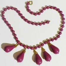 collier bijou vintage qualité perle mauve pampille poire gravé couleur or * 5011