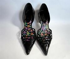 ALDO BLACK PATENT LEATHER POINTED HEELS PUMPS SHOES SIZE 37 7 MADE IN BRAZIL