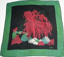 Zenith Mode - Black 1970s - Vintage silk scarf -Green / Red Willow Tree - Large