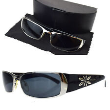 Auth PRADA Logos Sunglasses Eye Wear Black Silver Plastic Metal Italy 01P338