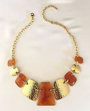 Joan Rivers Bib Necklace Gold Tone Amber Toned Lucite with Red Accents NWOT 10N