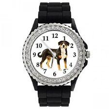 Entlebucher Sennenhund Strass Damenuhr mit Silikonarmband SGP292