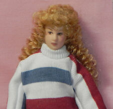 Dollhouse Miniature Doll - Mother Mom Stripe Sweater Skirt Porcelain 1:12 Scale
