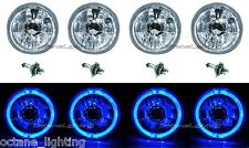 "5-3/4"" Blue LED Halo H4 Halogen Light Bulb Crystal Clear Headlight Angel Eye Set"