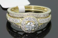 10K YELLOW GOLD .48 CARAT WOMENS REAL DIAMOND ENGAGEMENT RING WEDDING BAND SET