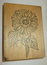 "Sunflower Rubber Stamp Large 4"" High Leaves Stem Flowers Stamps Happen"