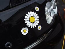 30 White Daisy Flowers Car Camper VW Self Adhesive Stickers Fun Easy Apply DIY