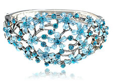 Blue Zircon Crystal Rhinestone Drawn Spring Floral Flower Bracelet Bangle Cuff