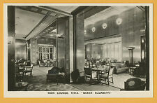 RMS Queen Elizabeth Photo Postcard - Main Lounge - Cunard White Star Line