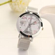 Women Lady LOVE Eiffel Tower Round Quartz Analog Bracelet Wrist Watch