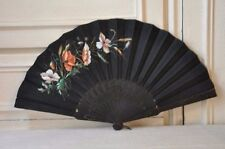 Victorian Antique French Fan, Large Black Hand Fan, Hand painted with Flowers