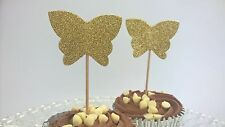 Handmade Set of x 10 Gold Glitter Butterfly Food Toppers - Parties/ Wedding