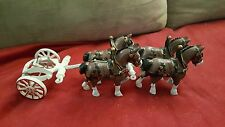 Pair of 2 Cast Iron Clydesdale Horse for a Budweiser Beer Wagon Set