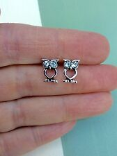 FREE GIFT BAG Silver Plated Crystal Owl Animal Bird Stud Earrings Cute Jewellery