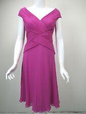 TADASHI Pink Silk Chiffon Bias Pleated Bodice V-Neck Dress sz 6