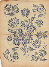 VINTAGE EMBROIDERY TRANSFER  - SHEET BUNCH OF FLOWERS & 4 MOTIFS